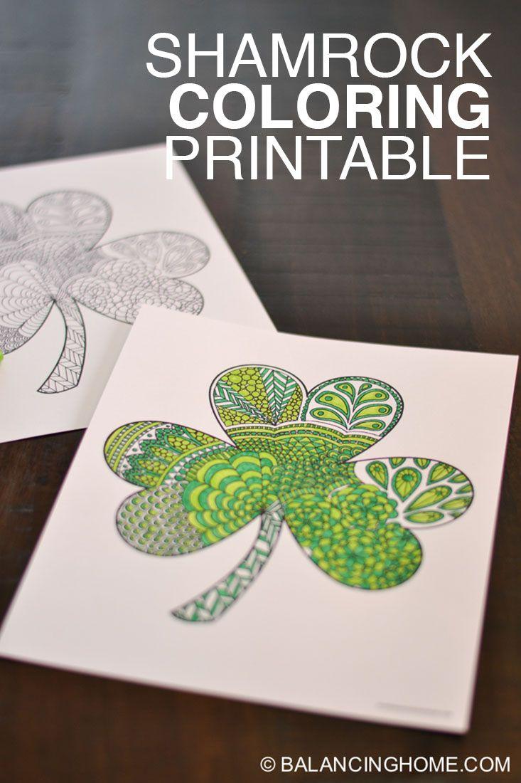 Shamrock Coloring Printable | Santa patricia, Terapia y Escolares