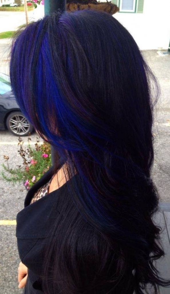 Image Result For Pic Of Blue Streak In Dark Hair Blue Hair