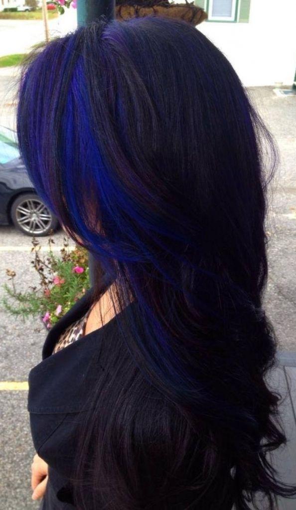 Image Result For Pic Of Blue Streak In Dark Hair Blue Hair Highlights Hair Streaks Hair Highlights