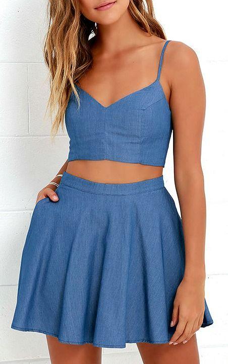 Accompany Me Blue Chambray Two Piece Dress Two Piece Dress Piece Dress Casual Dresses