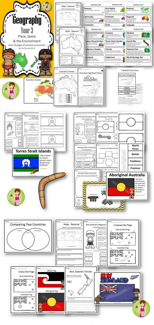 In this pack you will find over 50 pages of activities sheets and posters to work through the geography concepts of hierarchical scale the importance of places and spaces to Indigenous people and comparison of Australia and New Zealand.