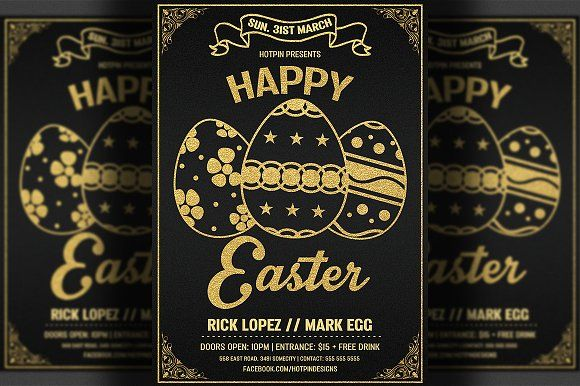 Easter Invitation Flyer Template by Hotpin on @creativemarket - Invitation Flyer Template