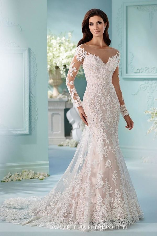 David Tutera for Mon Cheri Long Sleeve Gown | Long sleeve gown ...