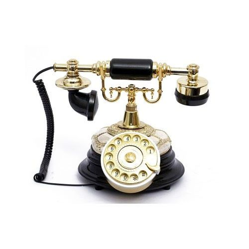 Vintage Rotary Telephone Retro Corded Antique Style Black Gold Desk Phone  Luxury - Vintage Rotary Telephone Retro Corded Antique Style Black Gold Desk