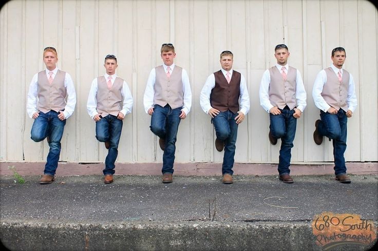 Country Wedding Groomsmen Vests And Jeans The Groom In A White Vest All Wearing Perfect Shade Of Matching Green Ties