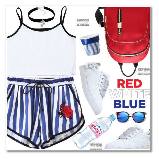"""Red, White & Blue: Celebrate the 4th!"" by paculi ❤ liked on Polyvore featuring Revol, KG Kurt Geiger, Evian and fourthofjuly"