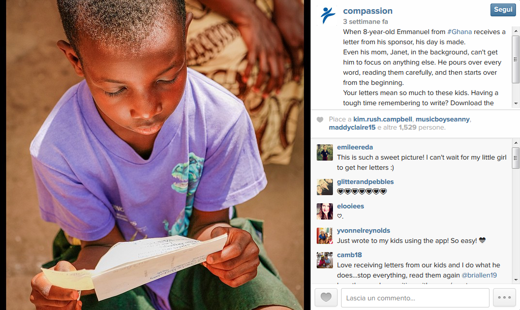 WHAT'S ABOUT: Retention WHO: Compassion WHY IS INTERESTING: Pushing the connection between donor and child by emphasizing the importance of letter writing for children