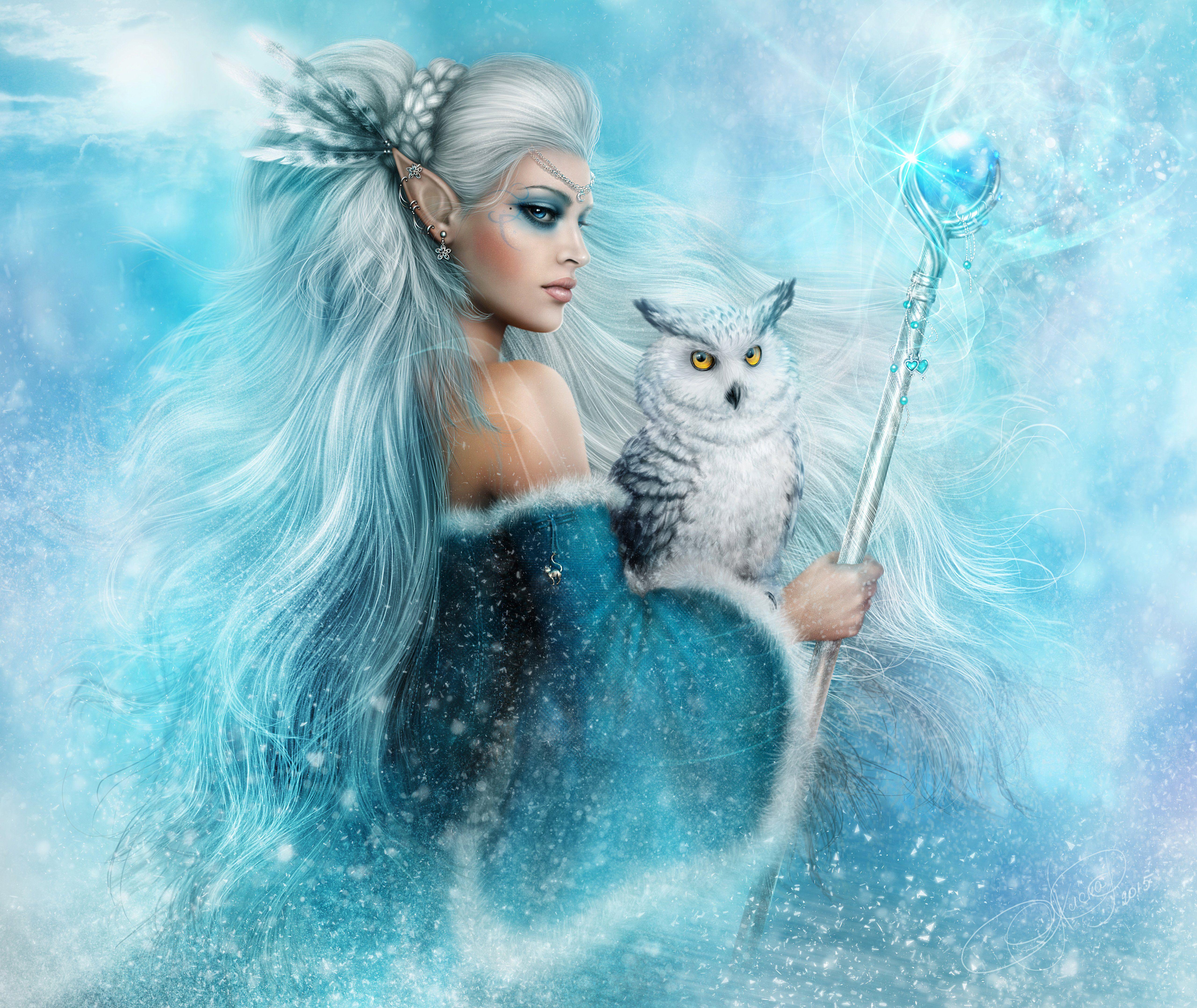 Fantasy Elf Fantasy Woman Girl White Hair Blue Eyes Owl Staff White ...
