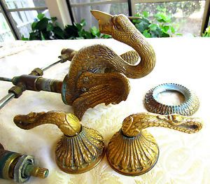 vintage sherle wagner solid brass swan