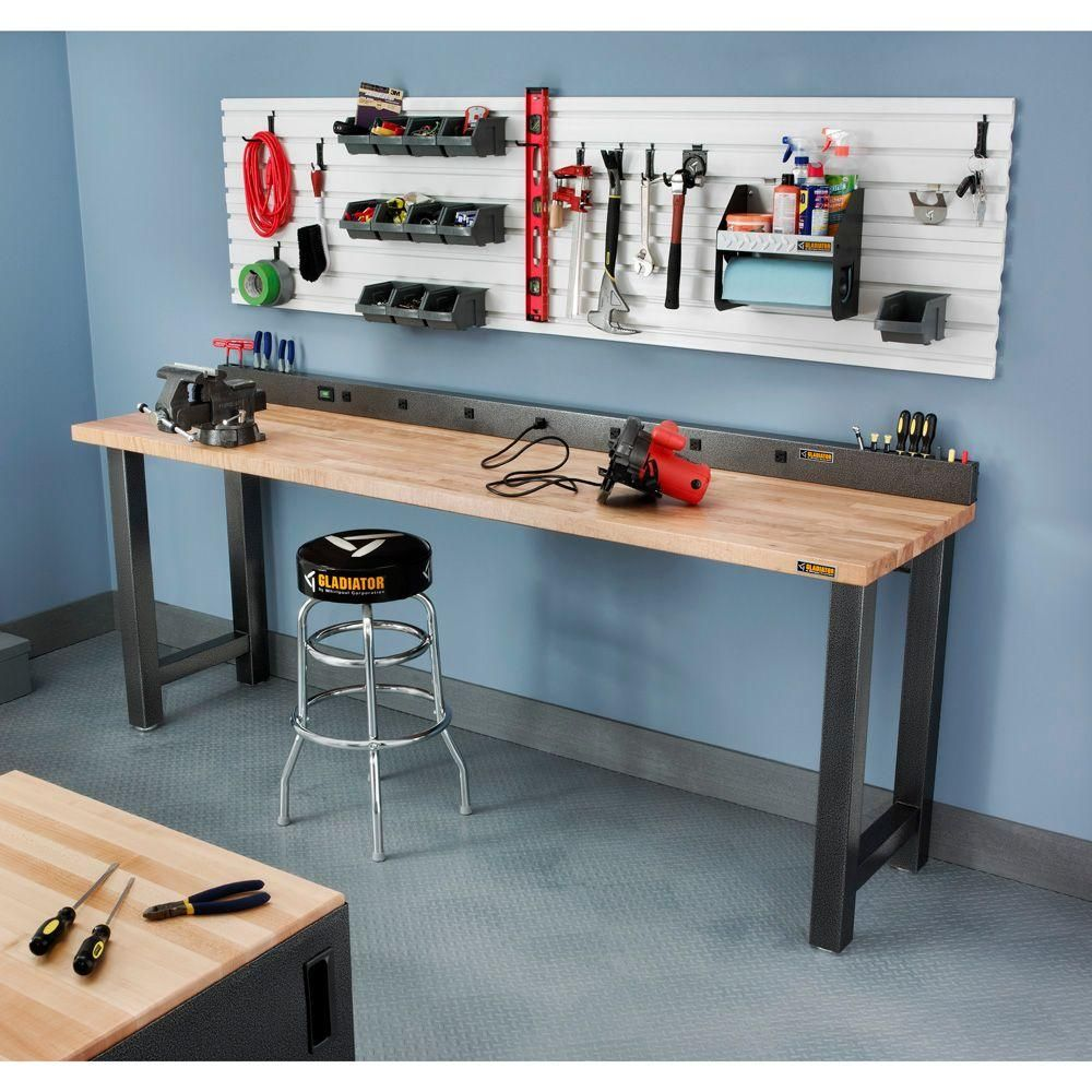 9 Outlet Workbench Power Strip With Tool Caddy Extensions In Hammered Granite Gray Gladiator WorkbenchGladiator GarageWork