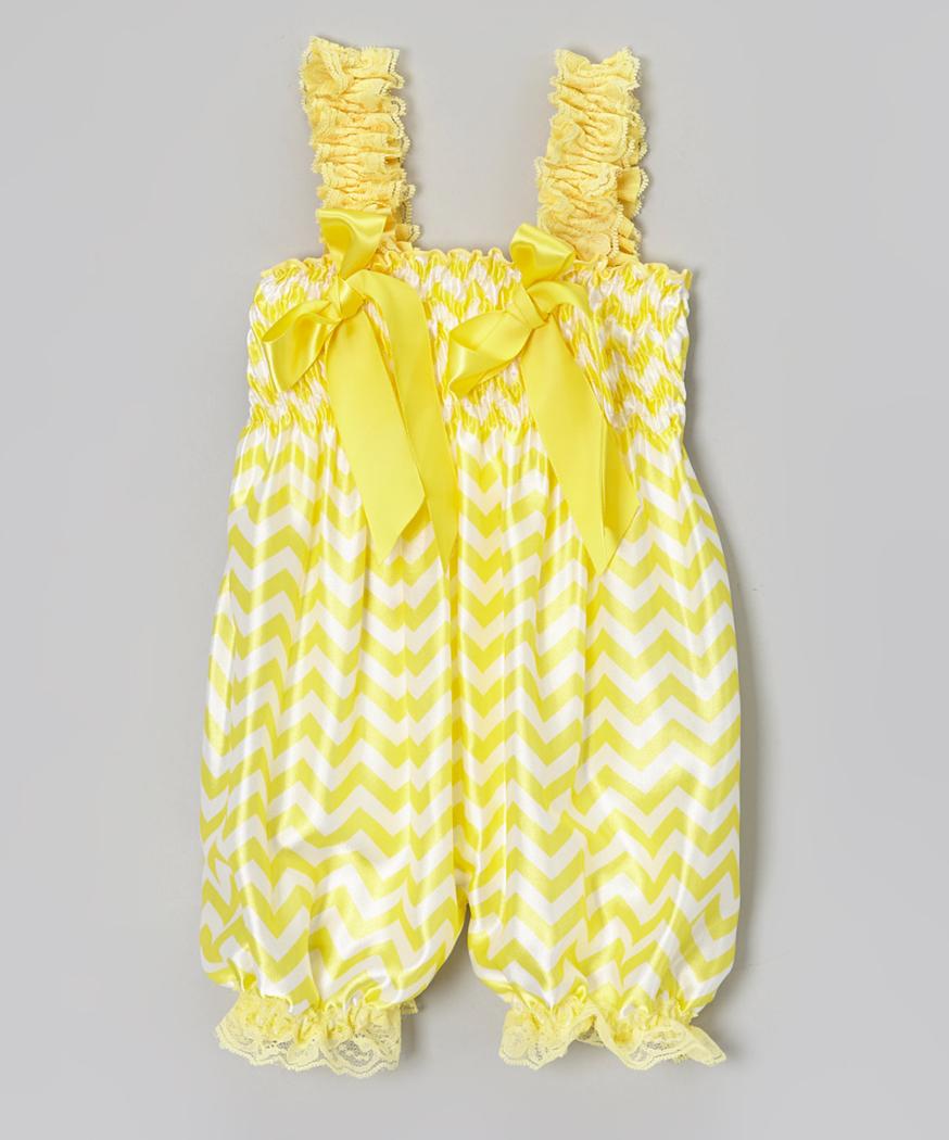 Yellow dress 3-6 months  Yellow Satin Chevron Bubble Romper Price  XS  months