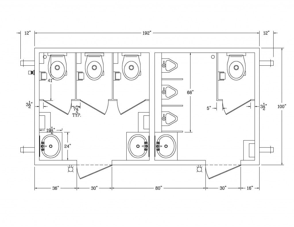 Ada Bathroom Size | Ada Bathroom Dimensions With Simple Sink And Toilet For Ada Public