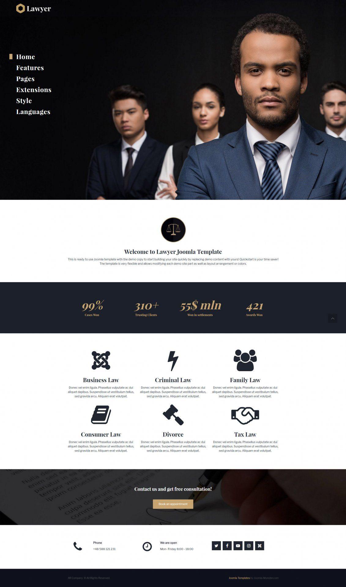 Lawyer Joomla template version JM Company - template for Joomla 3.x ...