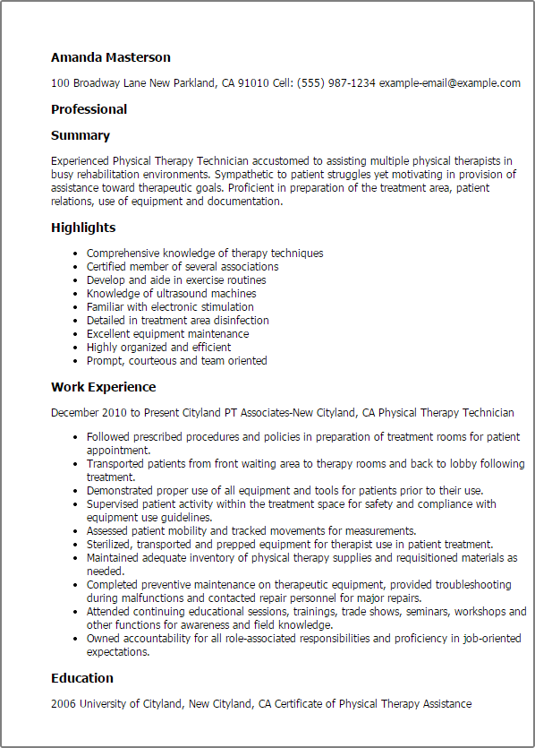 resume templates  physical therapy technician