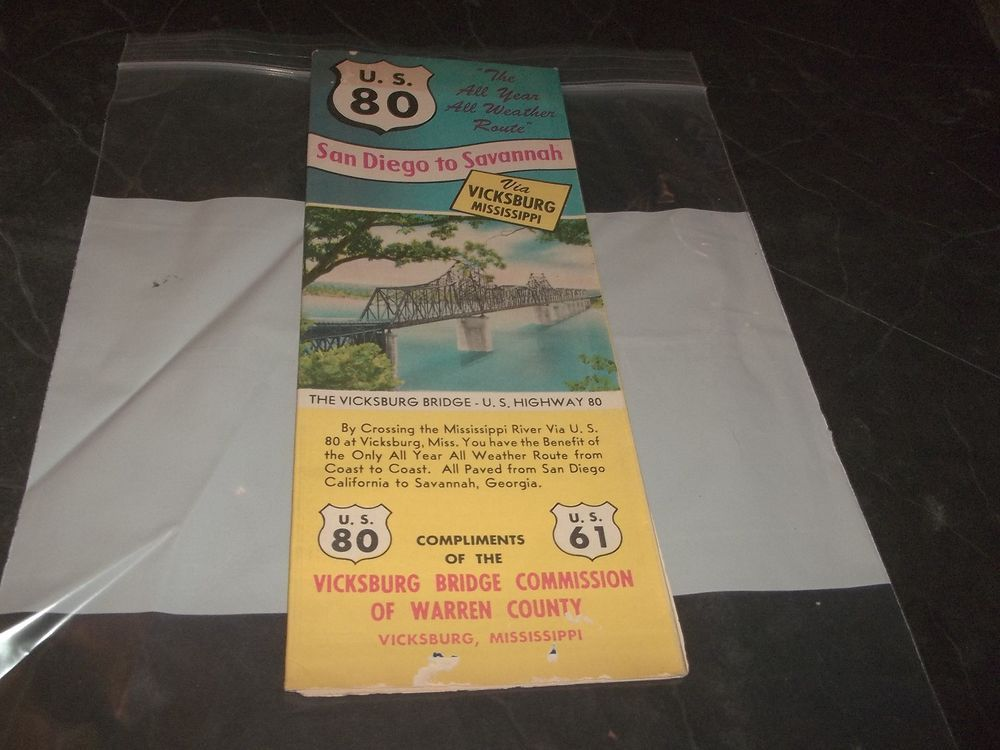 Roadmap Of The Us%0A Vintage U S     San Diego To Savannah Via Vicksburg Mississippi Road Map