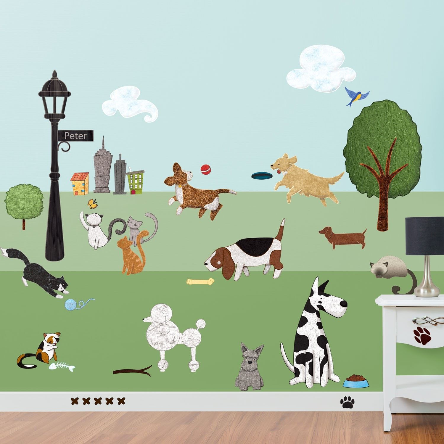Dog Wallpaper For Walls paws park cat and dog wall sticker decal kit - jumbo set