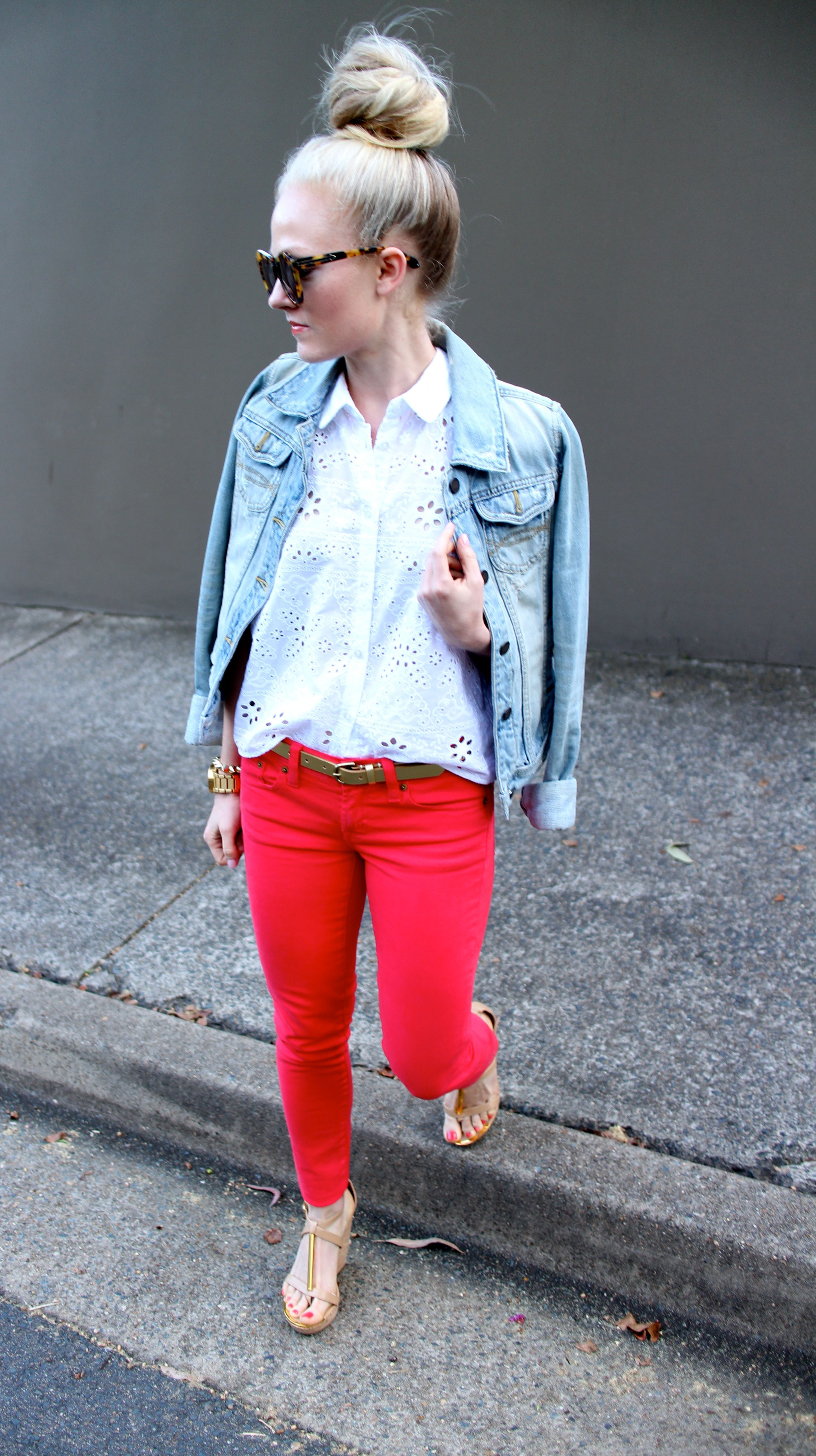 Top ideas for red pants - Red Pants Denim And Up Bun Nice Combination