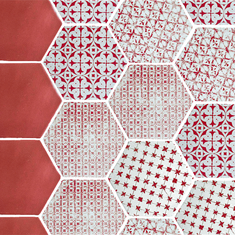 Carrelage Tomette Hexagonale Rouge Unie Style Artisanal He0811005 Carrelage Hexagonal Carreaux Ciment Tomette Rouge