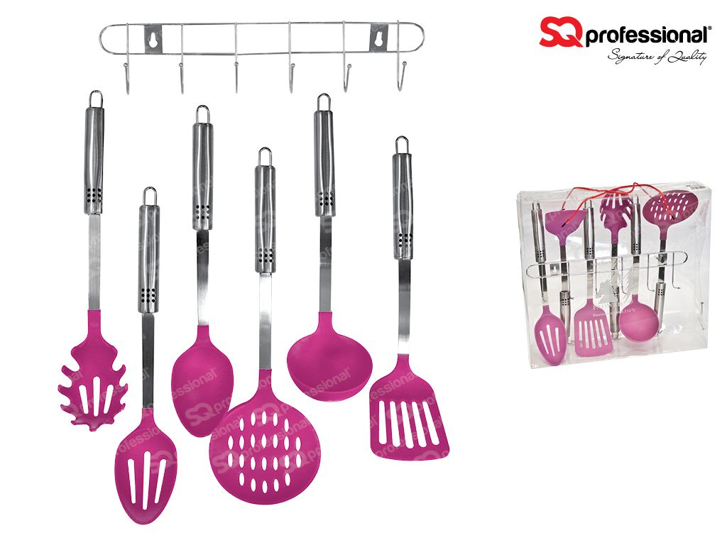 Instrumentos De Cocina Industrial 7pc Nylon Utensil Set With Stainless Steel Handle Pink