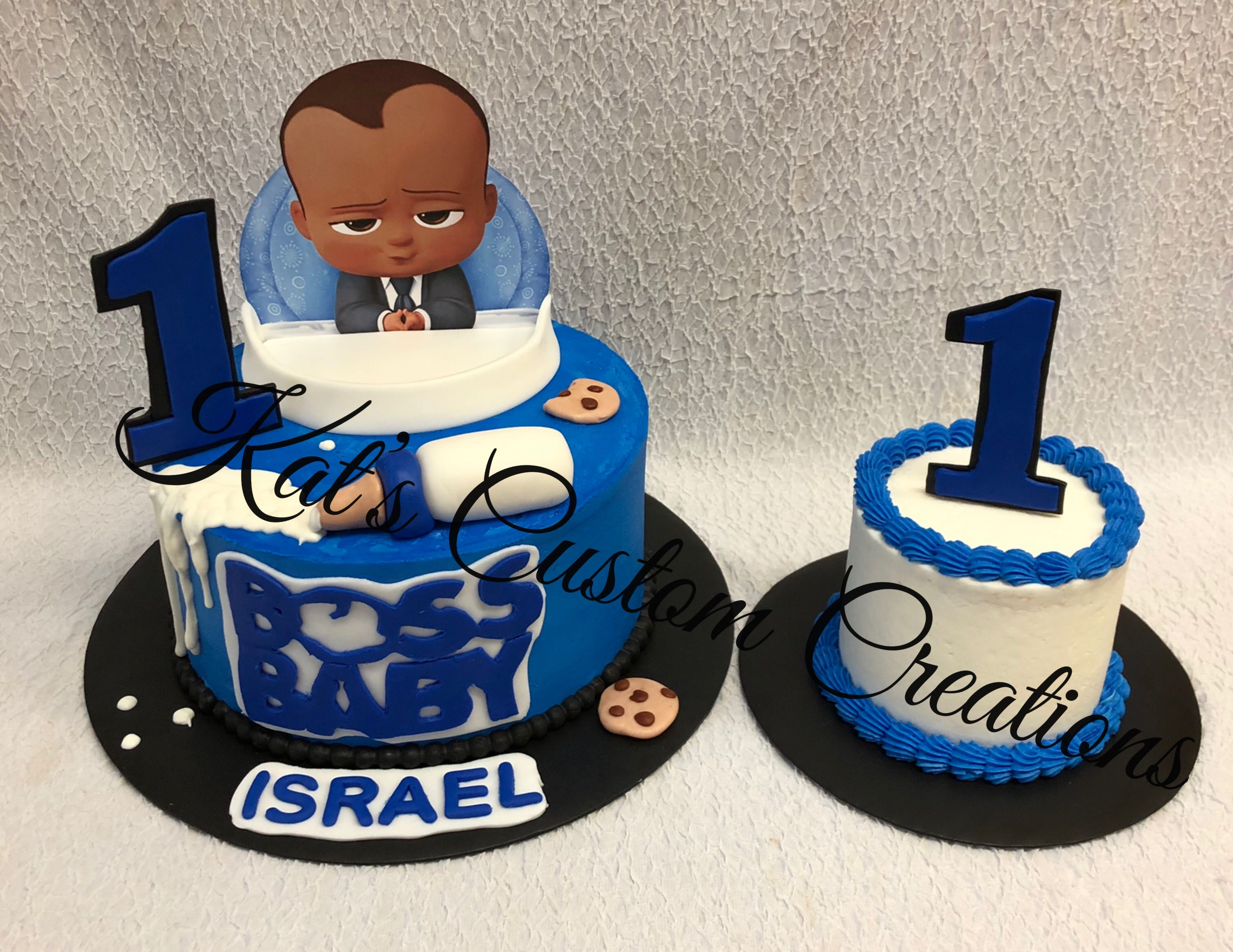 Boss Baby 1st Birthday Cake And Smash Cake With Images Baby