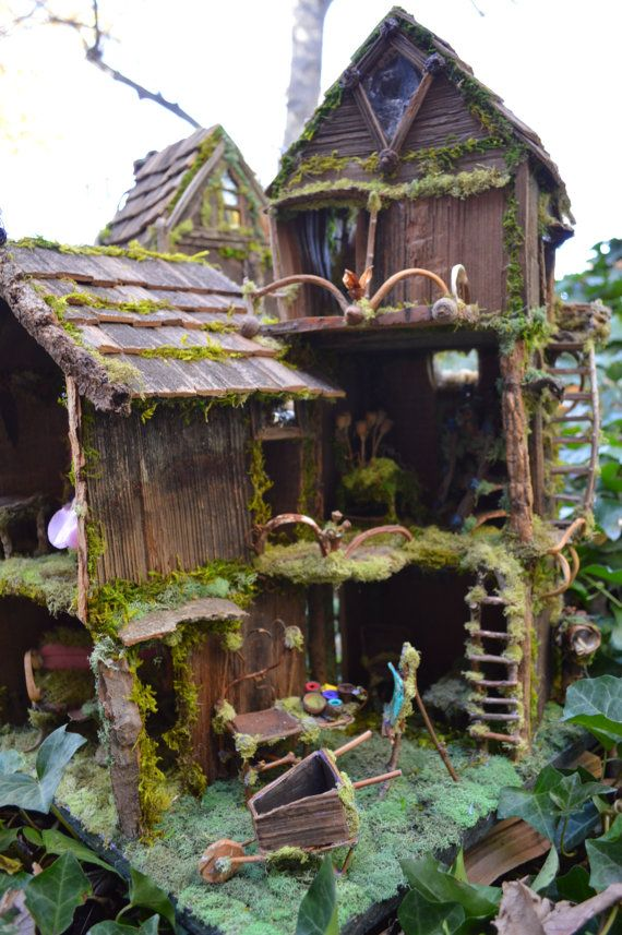 """TALL 11/"""" Fairy Miniature GNOME GARDEN House ~ Tree House Treehouse Cottage NEW"""