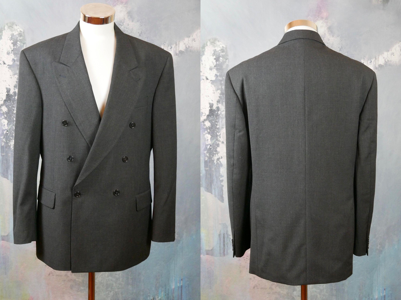 Gray Double Breasted Blazer 1990s Vintage Fine 100 S Wool Etsy Wool Jacket Double Breasted Double Breasted Blazer