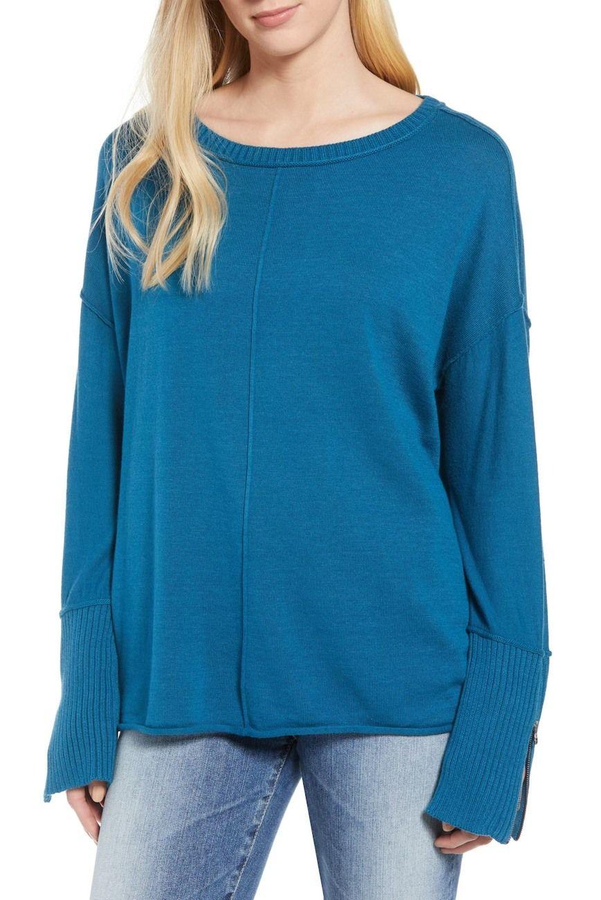 Image of Caslon Caslon(R) Zip Cuff Sweater (Regular   Petite) c7ceee362