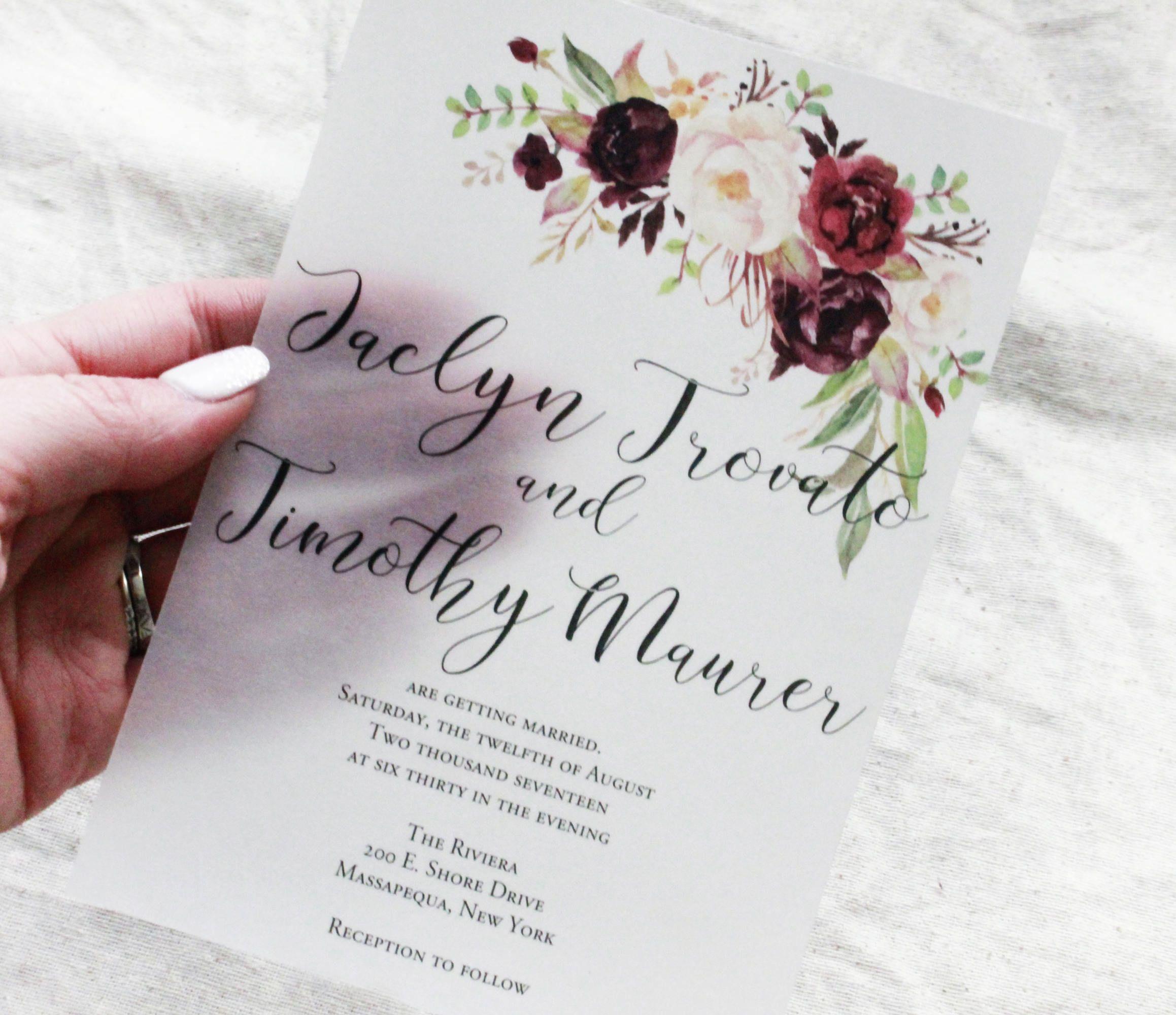 Vellum Wedding Invitation, Burgundy wedding invite, Wedding Invitation set, Unique invites, 2018 wedding trend, acrylic inspired invitation