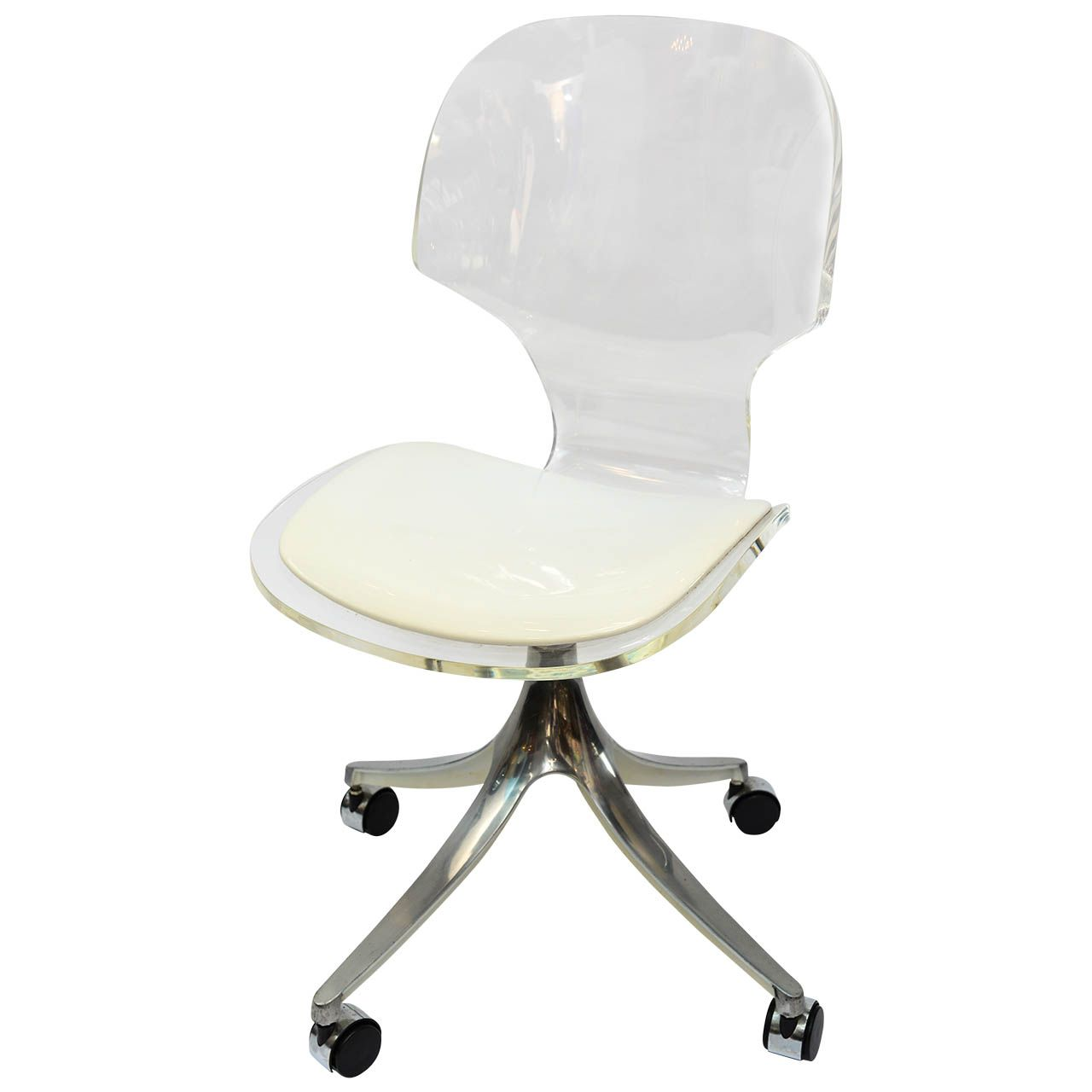 Stunning 1960u0027s Lucite Desk Chair On Chrome Swivel Base   From A Unique  Collection Of Antique And Modern Office Chairs And Desk Chairs At ...