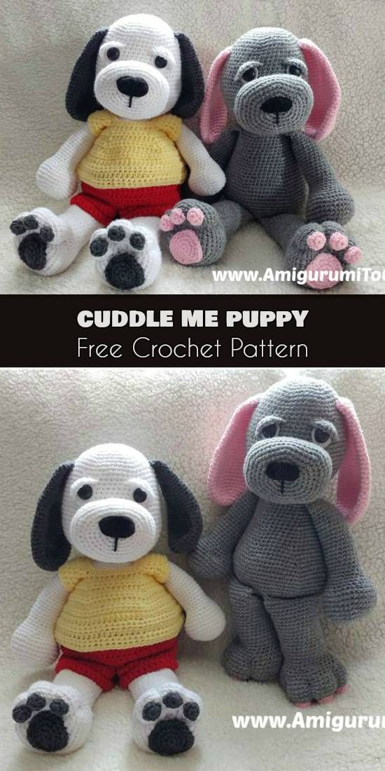 Cuddle Me Puppy Crochet Dog Free Pattern Amigurumi Crochet Toys
