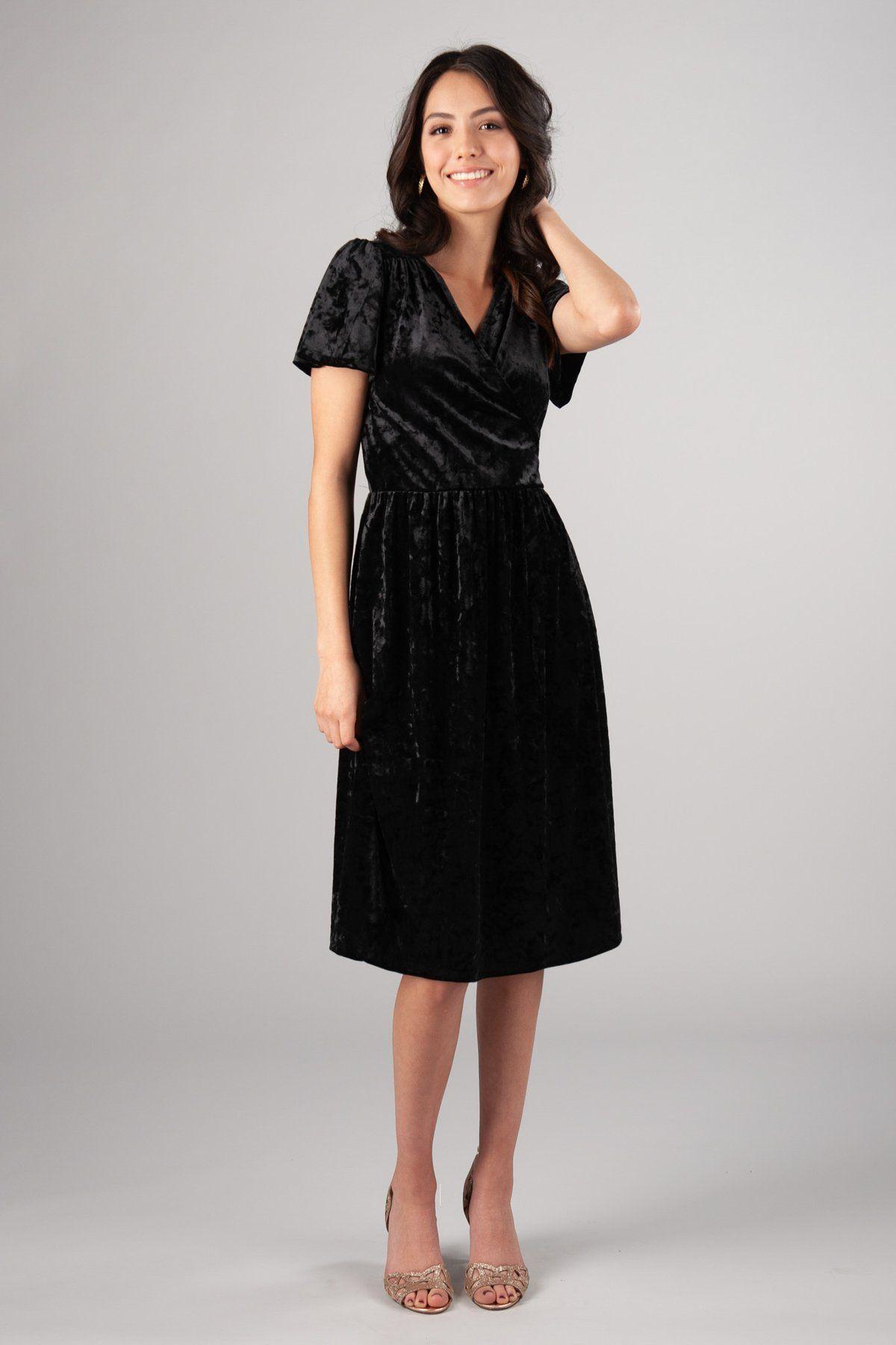 Velvet sheen darling modest dress, style MK25167 Black, is