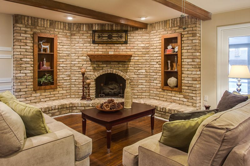 Staged Family Room Fireplace Staging Corner Fireplace Furniture Layout Large Brick Wall With Corner Fi Livingroom Layout Furniture Layout Family Room Design