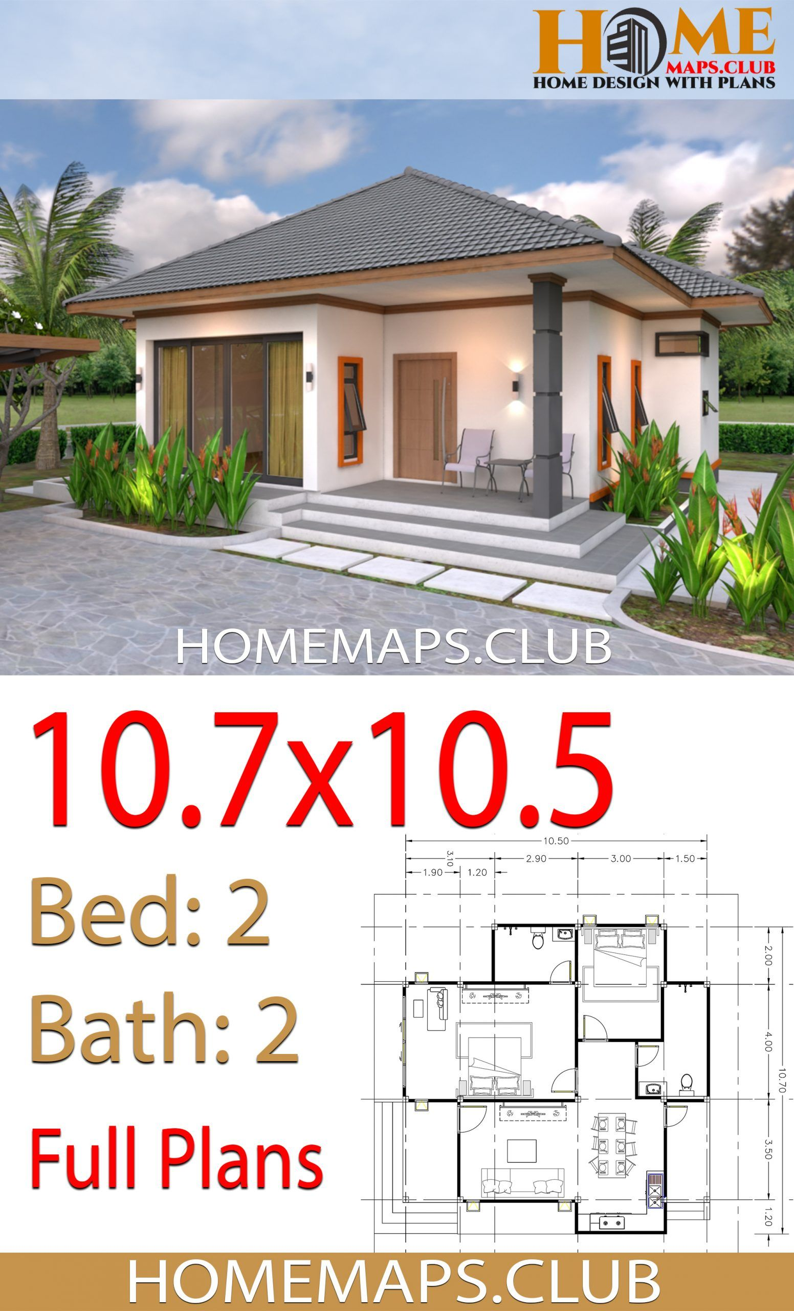 House Plans 10 7x10 5 With 2 Bedrooms Hip Roof House Plans House Roof Hip Roof