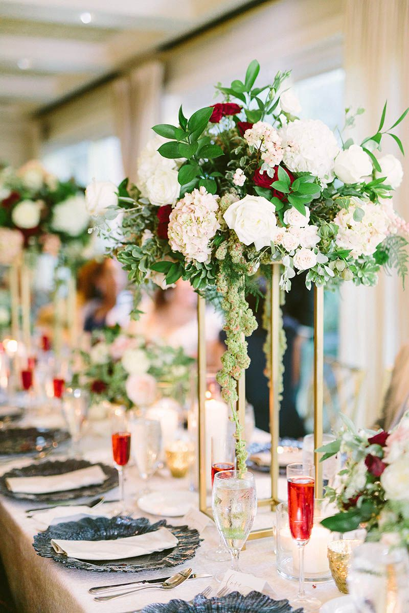 Fall wedding reception decor  gold tall centerpiece blush burgundy floral navy accents fall