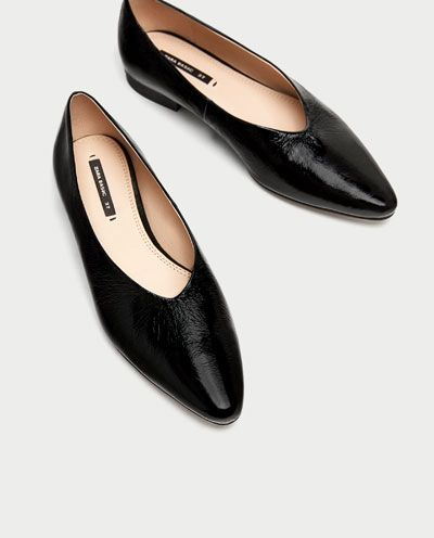 f36ade3e63a V-CUT LEATHER BALLERINAS-Flat Shoes-SHOES-WOMAN | ZARA United States ...