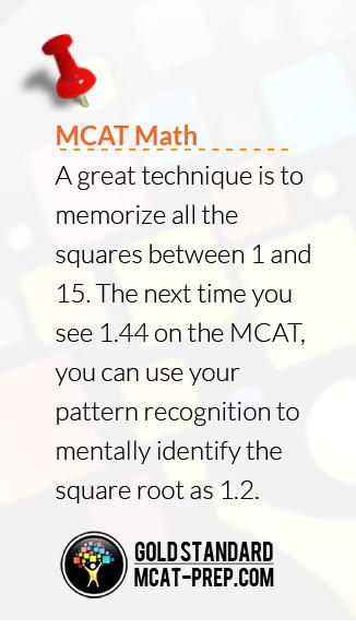 MCAT Math advice on square roots | MCAT Prep Advice
