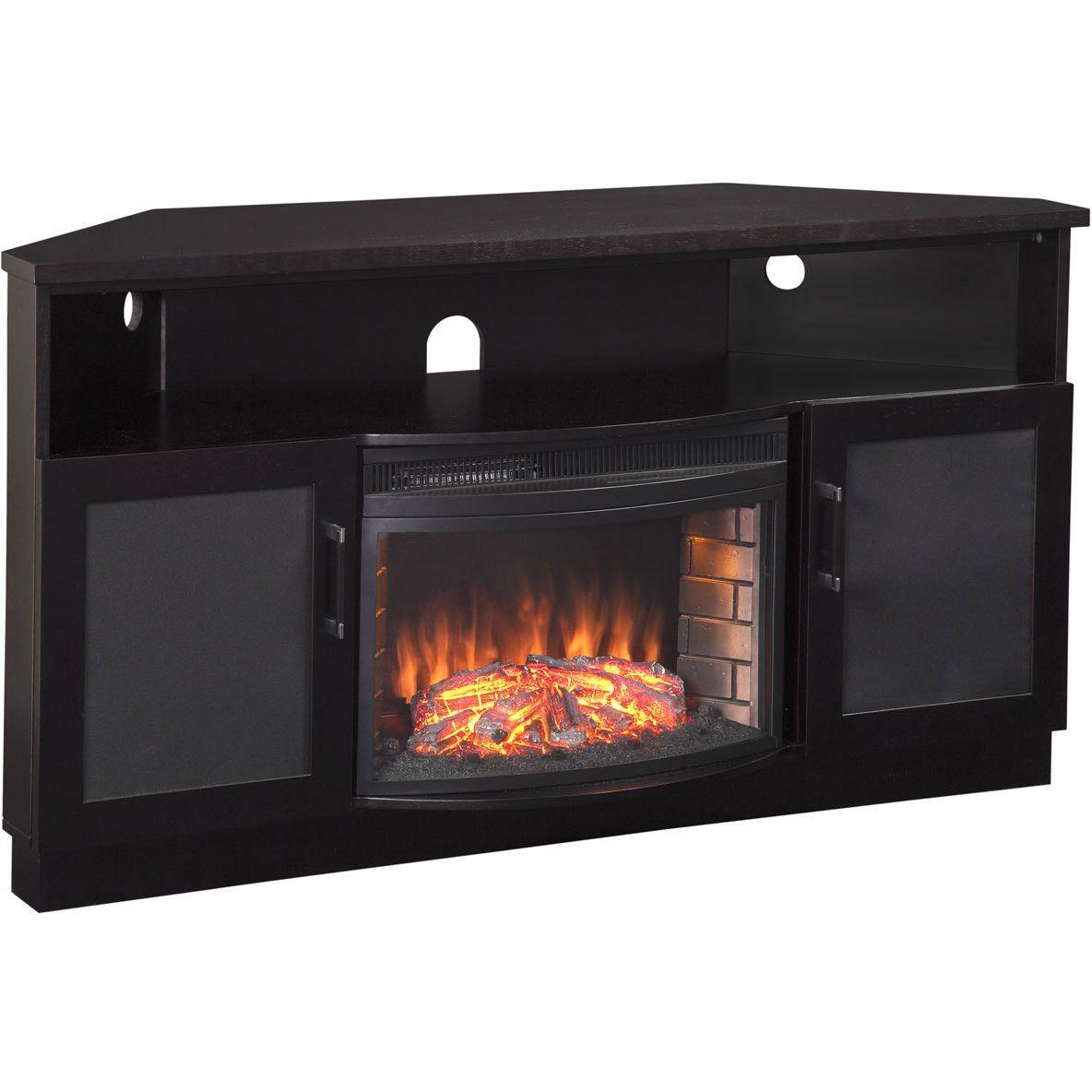 Furnitech Black Corner Tv Stand Electric Fireplace For 65 Tv Ft60cccfb Fireplace Tv Stand Tv Stand Black Corner Tv Stand