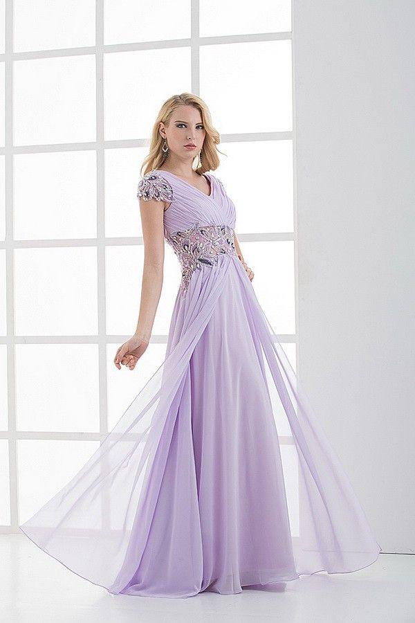 Cheap Vintage Chiffon Short Sleeves Sheath/Column Lavender Prom Evening Dresses