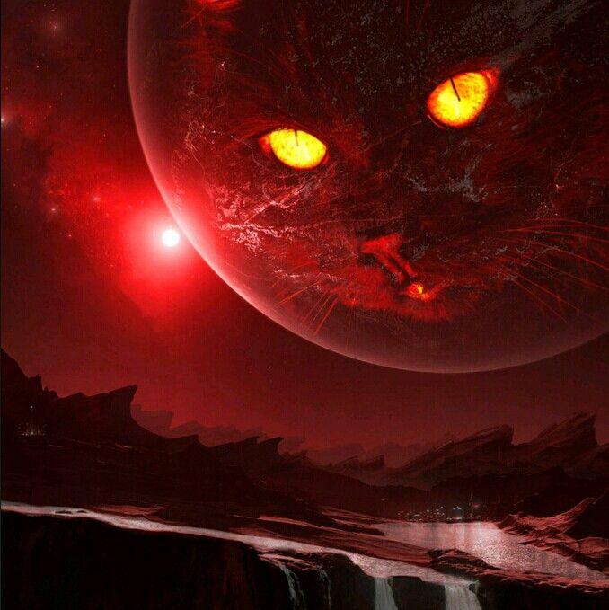 Satan's Cat art cat red Space artwork, in the