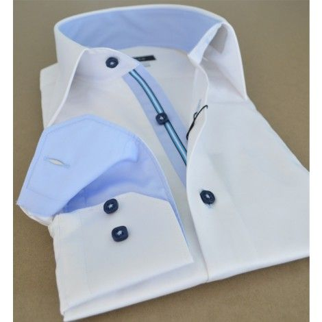 White #Business #Frenchshirt Australia... blue buttons, striped ...