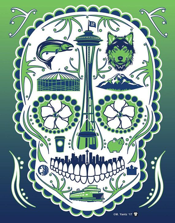 Historical Seattle Print Inspired By The Historic City Of Seattle Washington Including 12 Symbols Inclu Seattle Skyline Outline Chief Seattle Mexican Folk Art