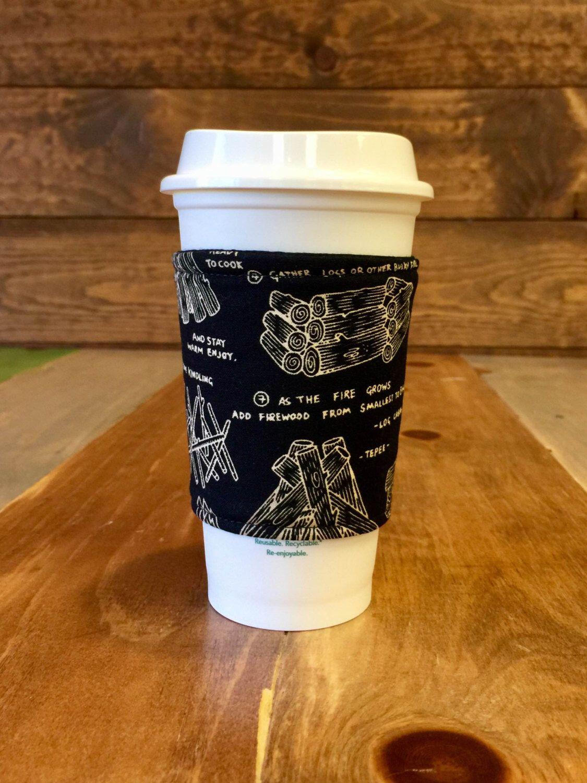 Coffee Cozy CAMPFIRE Fabric Coffee Sleeve, Coffee
