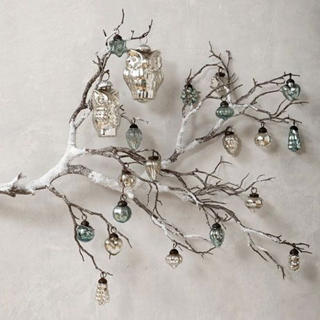 owl christmas tree decorations with mercury glass ornaments - Christmas Tree Decorated With Owls