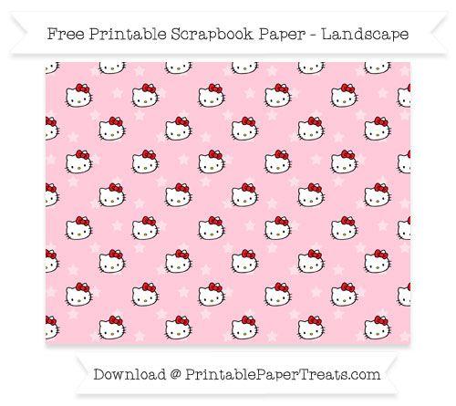 Free Landscape Pink Star Small Hello Kitty Head Pattern Paper