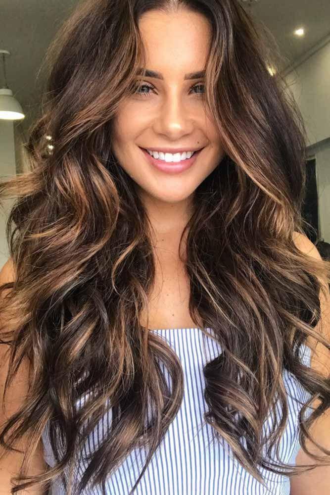 Dark Brunette With Low Light Streaks Hair Colour Design Balayage Hair Brunette Hair Color