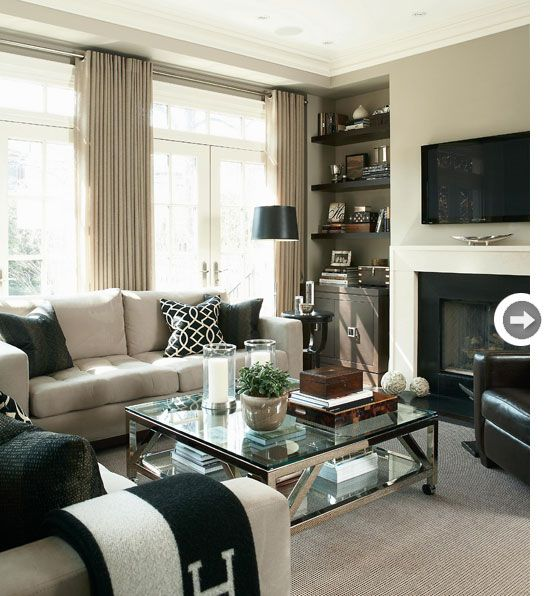 Good Layered Shades Of French Grey (warmer And Brown In Tone) With Accents Of  Glass, Metal, And Black Make For A Very Tailored And Gender Neutral Living  Room.