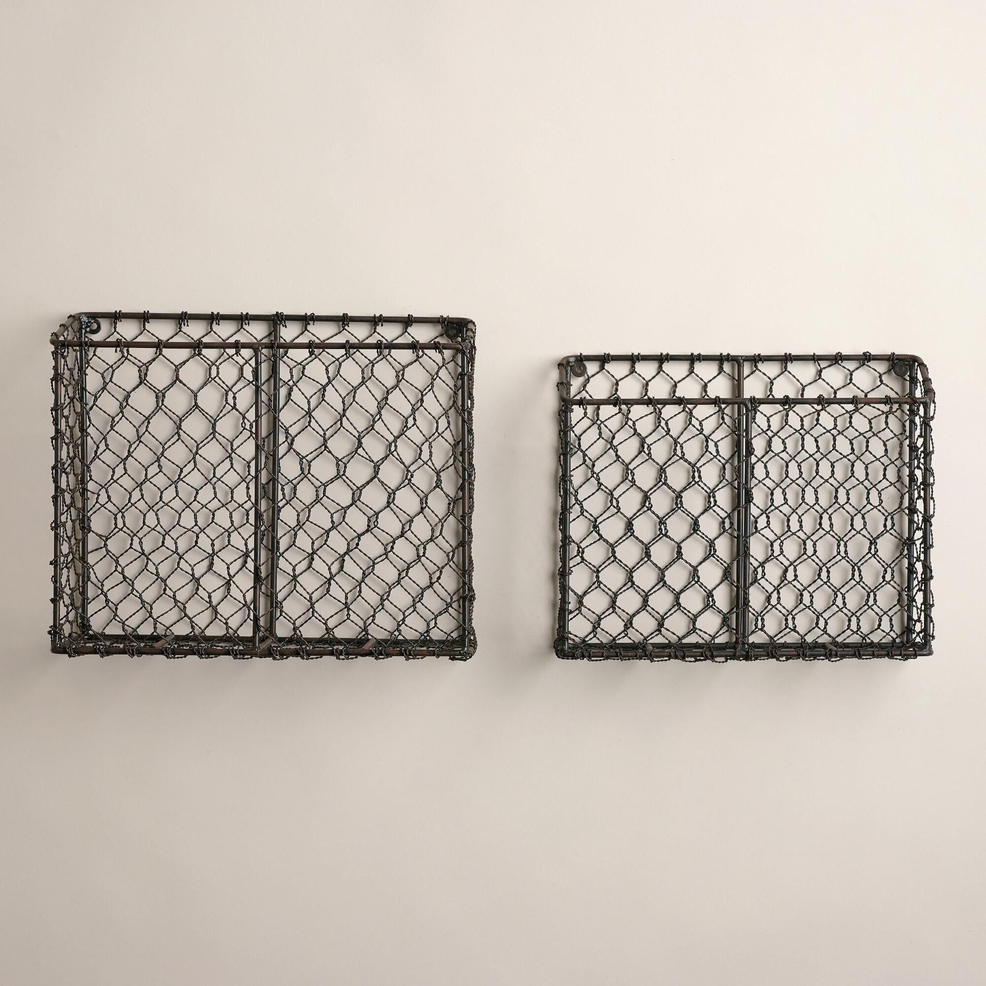 Crafted in India of iron wire with an antique finish these baskets