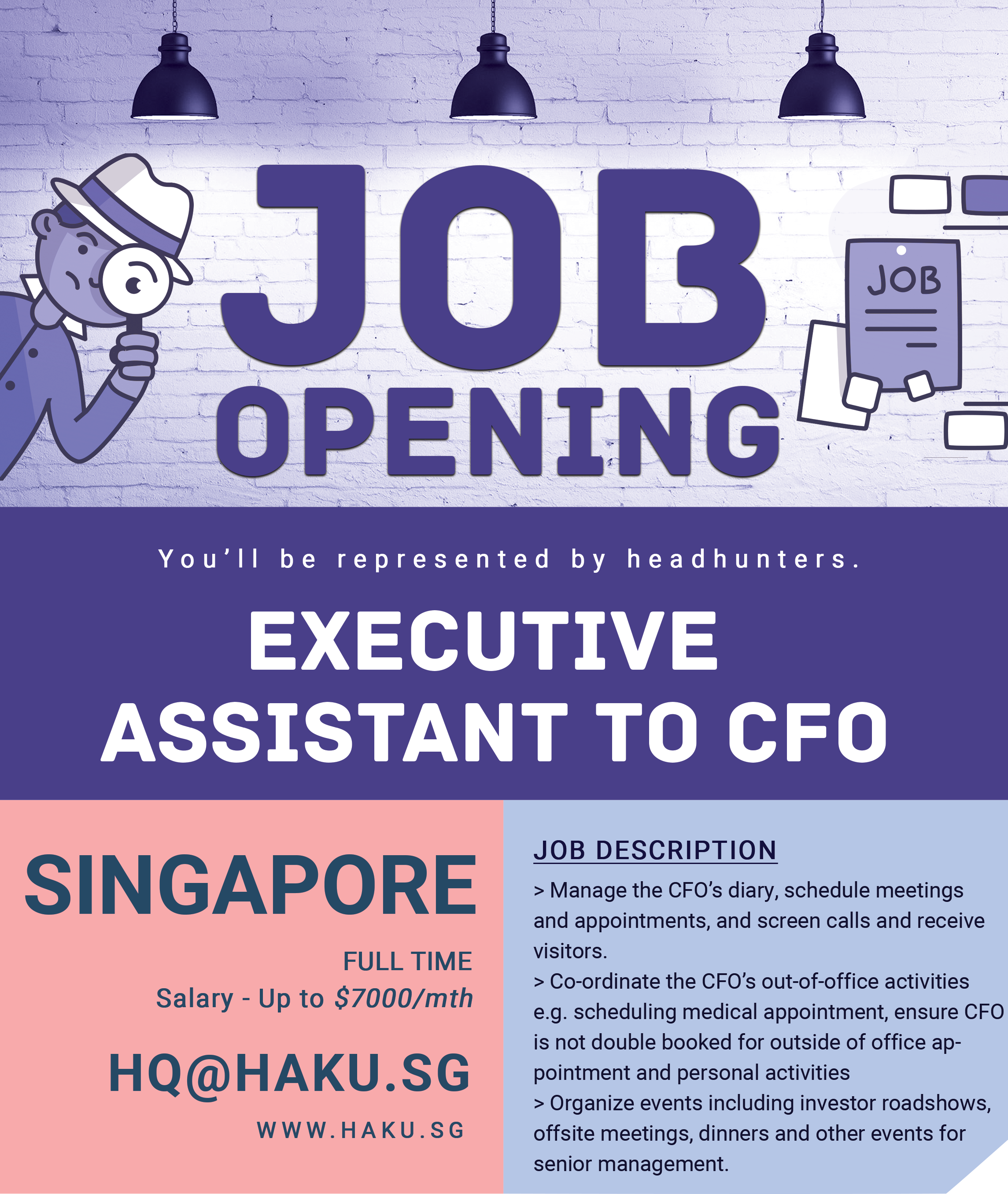 Job Opening In Singapore Job Tittle Executive Assistant To Cfo
