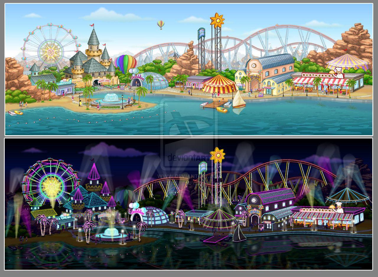 amusement park painting | Amusement Park by azazlya | art ...