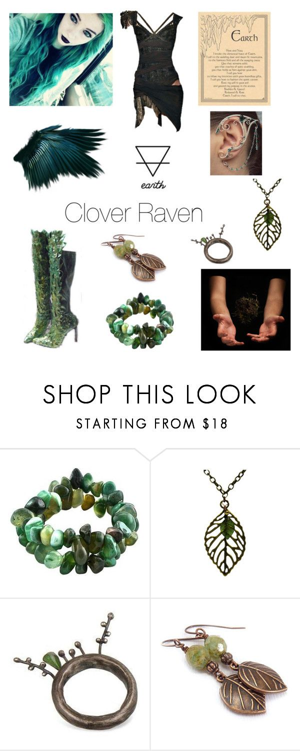 """""""Clover Raven"""" by aquaphina ❤ liked on Polyvore featuring Balmain, NOVICA and HiNGE Dept. Accessory"""